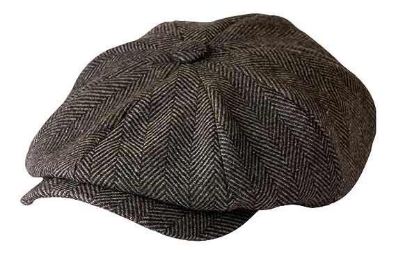8a87823e59bc0 Shelby  Newsboy Grey Herringbone Cloth Cap By Gamble   Gunn  Amazon ...