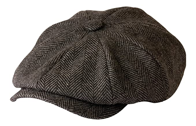 1920s Mens Hats & Caps | Gatsby, Peaky Blinders, Gangster Shelby Newsboy Grey Herringbone Cloth Cap By Gamble & Gunn £22.49 AT vintagedancer.com