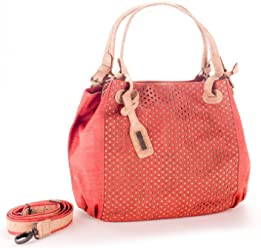 Artelusa Cork Top Handle Handbag Coral/Natural Adjust/Remov Strap Eco-Friendly Handmade