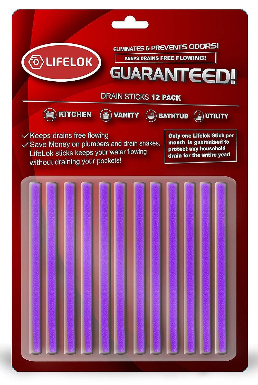 Drain Cleaner Sticks, Sani Disposal - Lavender BioClean Enzyme Rich Lye Main AC Drain Opener. Shower, Bathroom, Kitchen, Sink and Toilet Drain Opening Cleaner by Lifelok