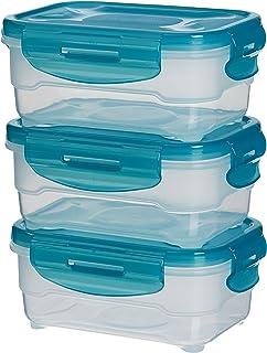 0.55 Liter Transparent//Himbeer NEU Emsa 515582 3-Teiliges Frischhaltedosenset