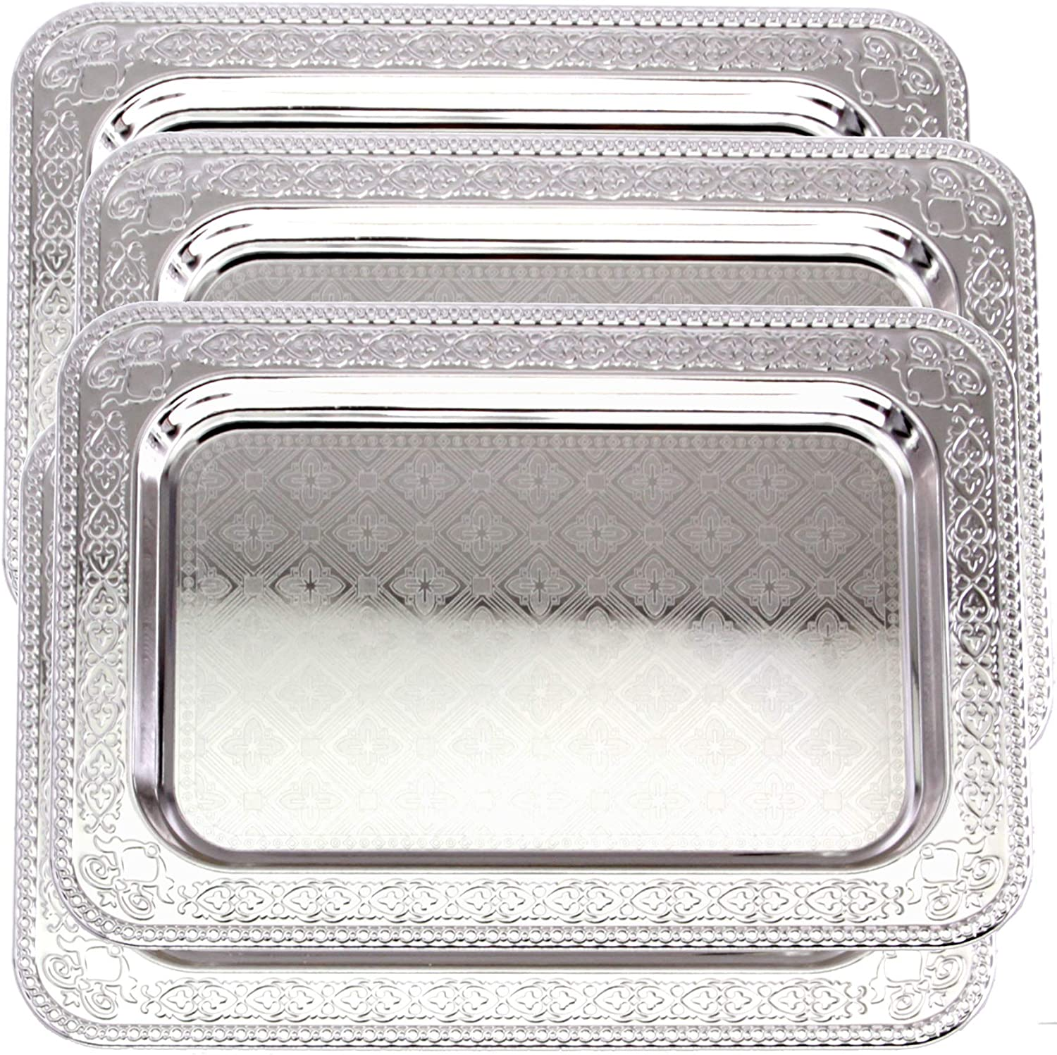 Maro Megastore (Pack of 4) 13.9 Inch x 10 Inch Oblong Chrome Plated Serving Tray Stylish Brick Floral Square Engraved Edge Decorative Party Birthday Wedding Dessert Buffet Wine Platter Plate CC-950