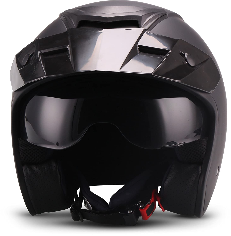 """57-58cm Soxon  S77 /""""Navy/""""  Jet-Helm  Roller Chopper Mofa Bobber Motorrad-Helm Scooter-Helm  ECE zertifiziert  Visier  Extra kleine Helmschale  Click-n-Secure Verschluss  Tragetasche  M"""