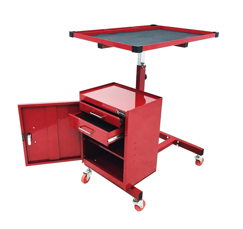 Toolbox Cart Rolling Mechanic Workstation Adjustable Table