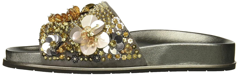 Kenneth Cole New York Women's Xenia Embellished Pool Slide Sandal B07C3BDD73 9 B(M) US|Silver/Gold