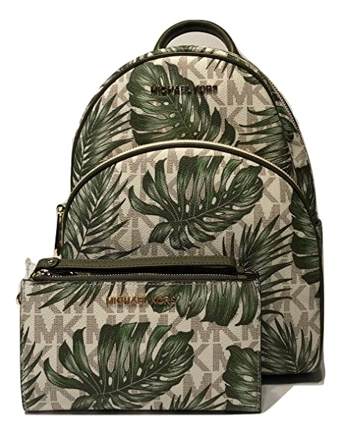 81cf35267008 MICHAEL Michael Kors Abbey MD Backpack bundled with Michael Kors Jet Set  Travel Double Zip Wallet Wristlet (Signature MK Vanilla/Olive): Amazon.ca:  Shoes & ...