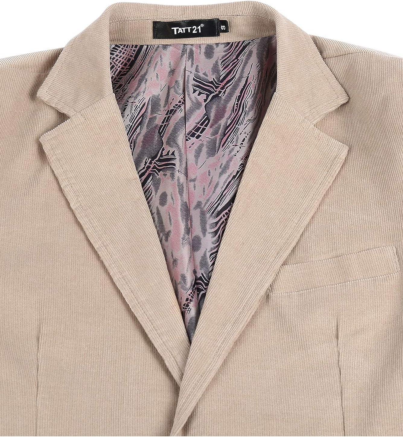 TATT 21 Men Casual Blazer Notch Lapel Two Button Cotton Corduroy Sport Coat