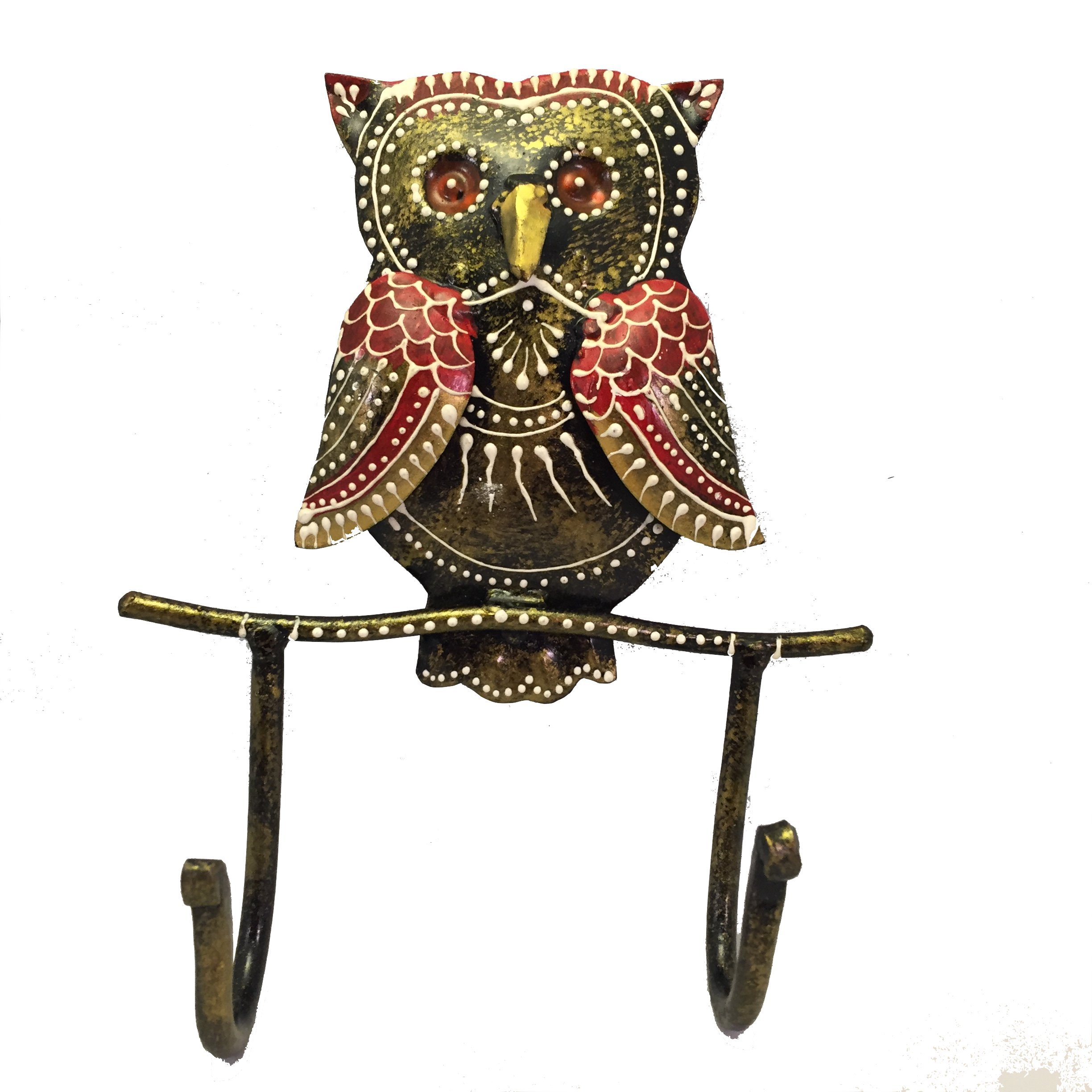 Owl Wall Hook - Decorative Iron Wall-Mounted Hanger for Coats, Keys, Hats or Purses - Hand Painted Decor by Journey Of My Spirit