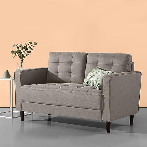 Zinus Benton Mid-Century Upholstered 52.8 Inch Sofa Couch Loveseat, Stone Grey Weave