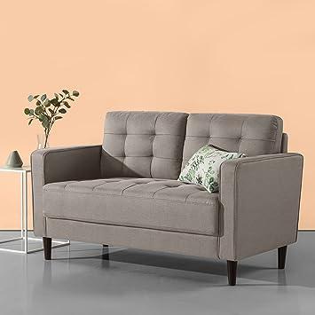 Zinus Benton Mid-Century Upholstered 52.8 Inch Sofa Couch / Loveseat, Stone  Grey Weave