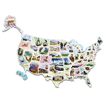 Amazoncom WonderFoam Giant USA Photo Map Puzzle AC Toys - Giant us map
