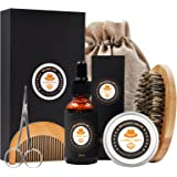 XIKEZAN Mens gifts for Men Beard Care Grooming & Trimming Kit Unscented Bearded Oil Leave-in Conditioner + Mustache & Beard Comb+Balm Wax+Brush+Barber Scissors for Styling Shaping