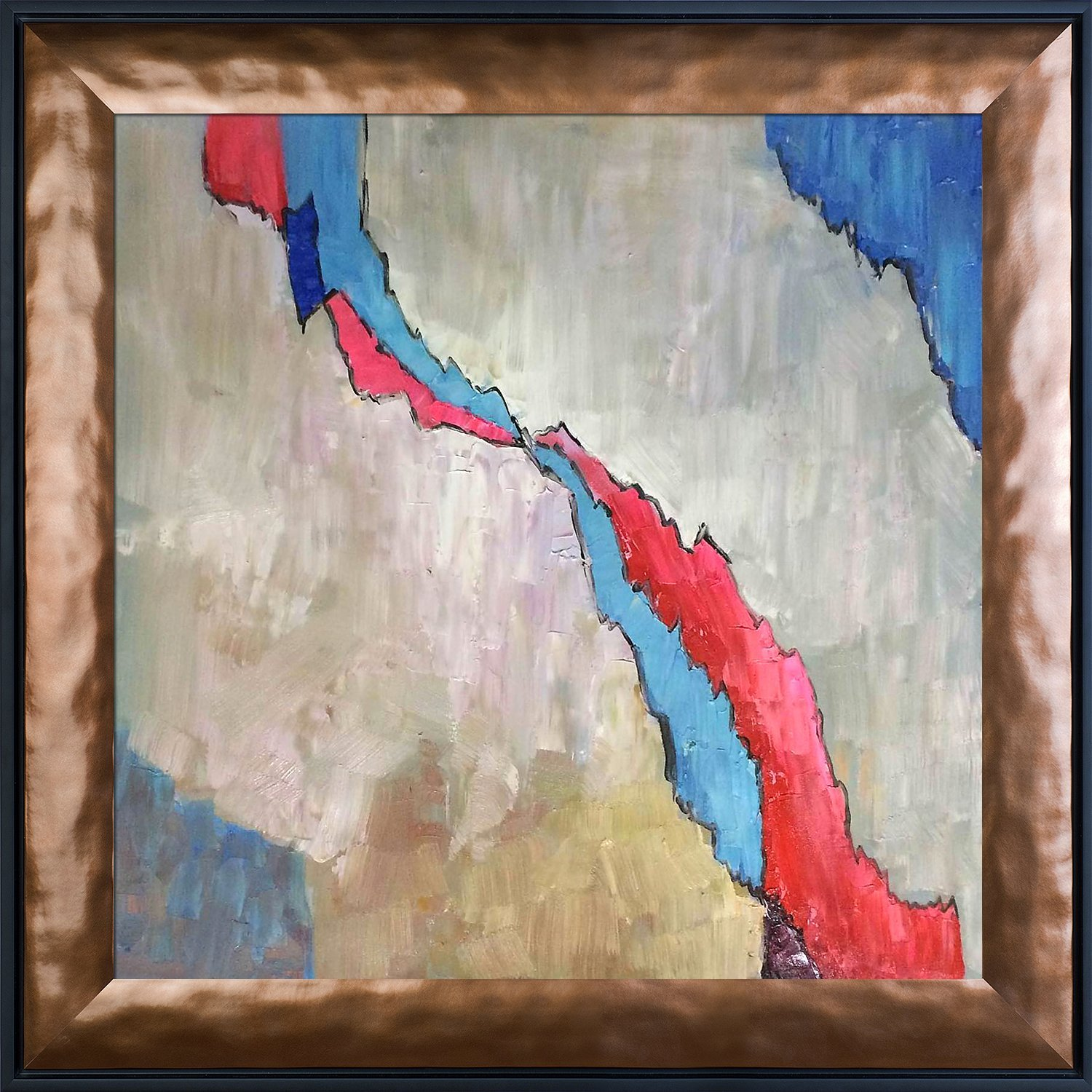 Hand Painted Oil with Copper and Black Combo Stacked Frames overstockArt ArtistBe Crack by Clive Watts