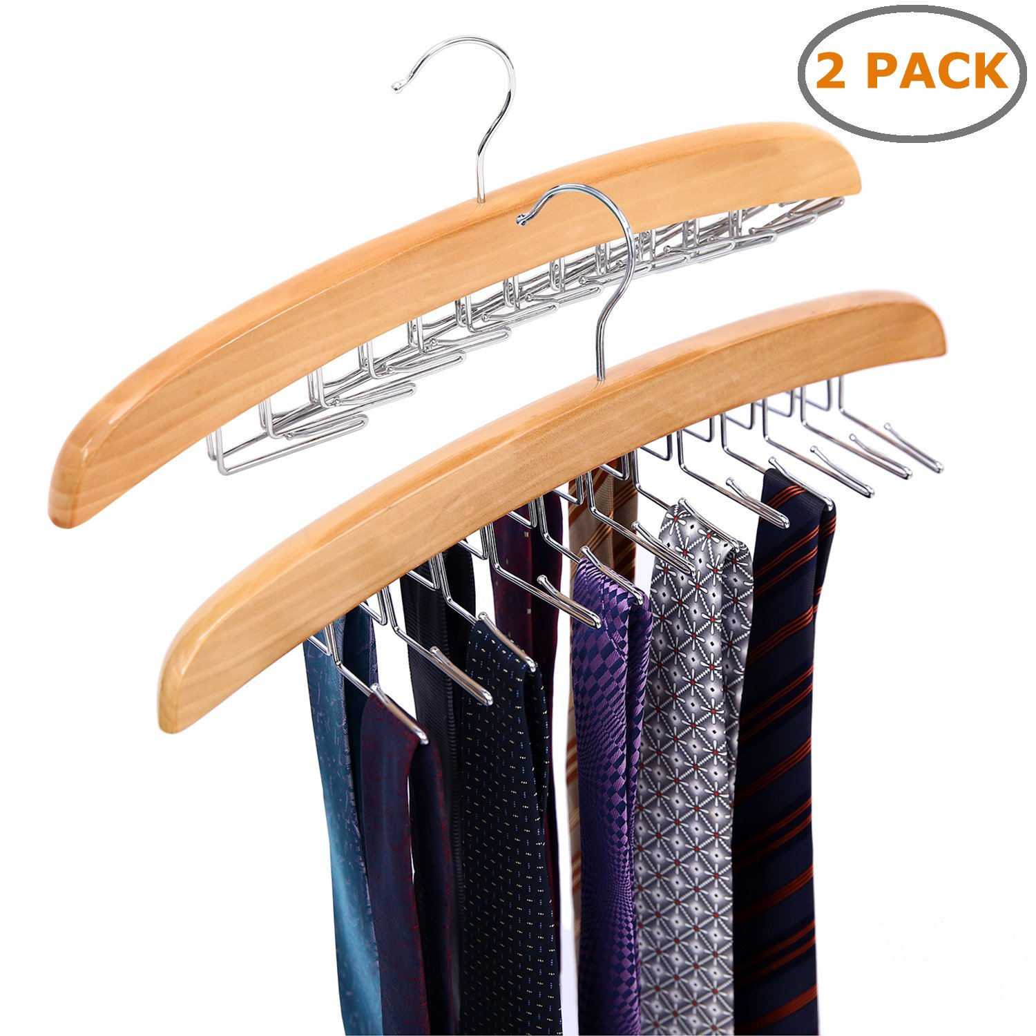 Ohuhu Wooden Tie Rack Hangers Rotating Twirl 24 Tie Organizer Rack Hanger Holder Hook FBA_Y14-80300-01