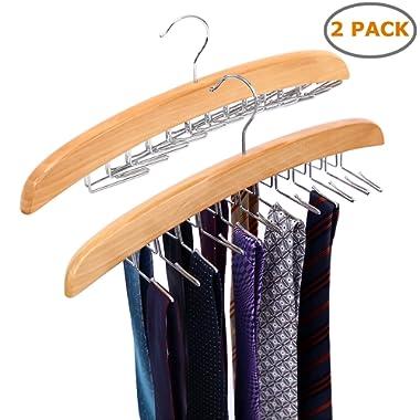 Ohuhu Wooden Tie Hanger Rotating Twirl 24 Ties Organizer Rack Hanger Holder Hook (2-Pack)