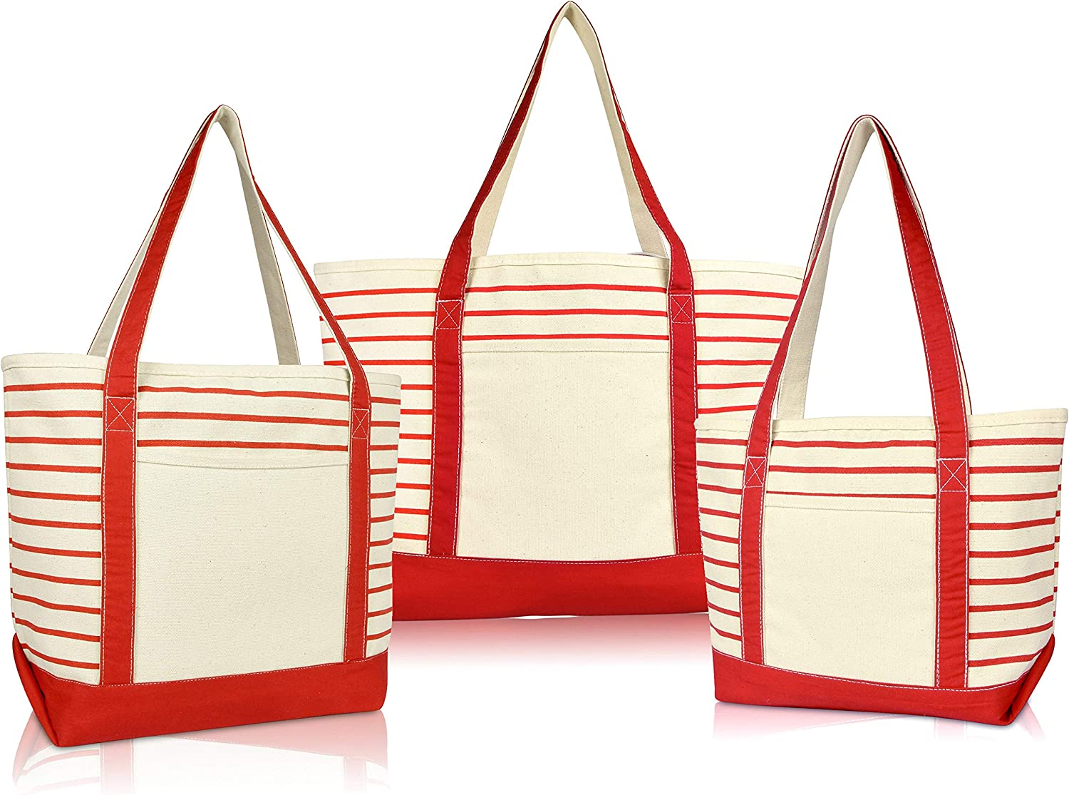 DALIX Stripe Tote Shoulder Bag Deluxe Cotton Canvas Set of 3 in Red