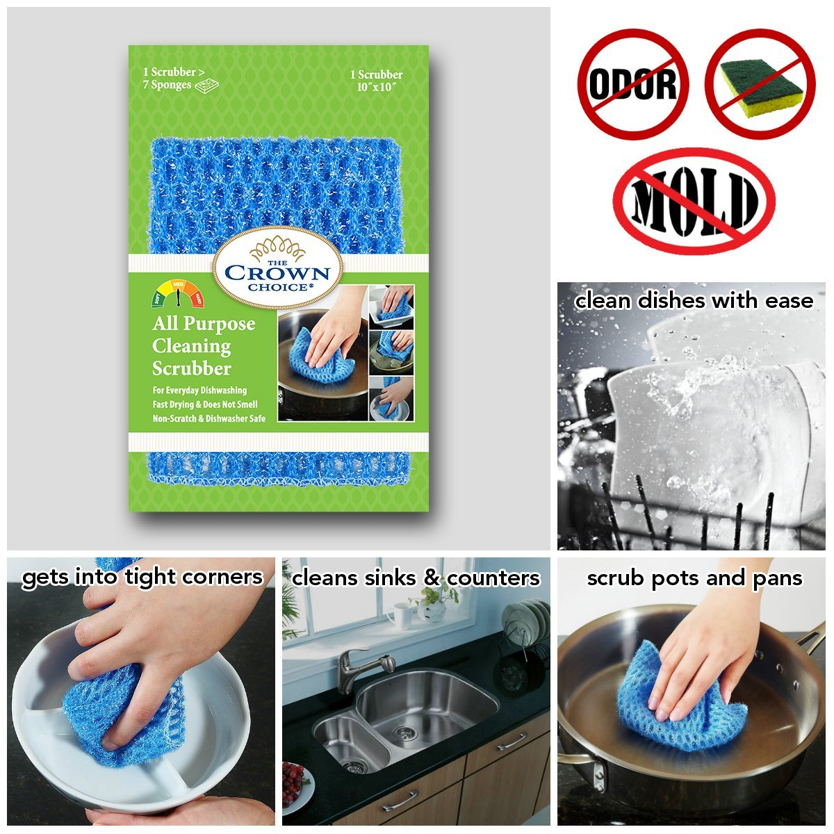 NO ODOR Dish Cloth for All Purpose Dish Washing (3PK) | No Mildew Smell from Sponges, Scrubbers, Wash Cloths, Rags, Brush | Outlast ANY Kitchen Scrubbing Sponge or Cotton Dishcloth by The Crown Choice (Image #2)