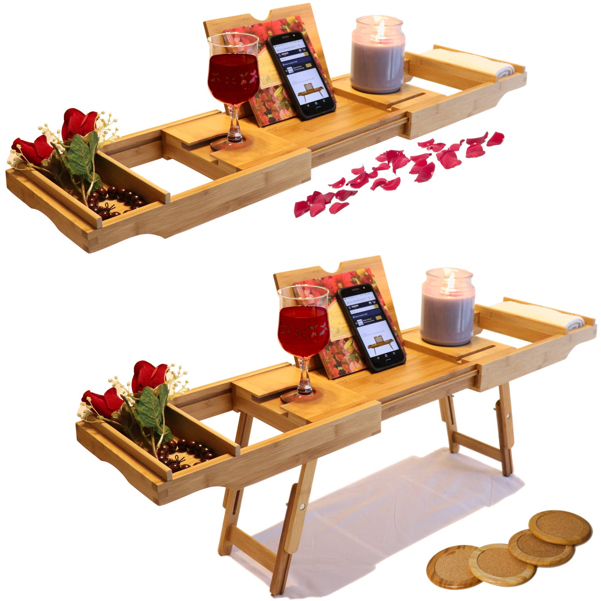 SOHOtopia Bamboo Bed and Bath Caddy with Coasters Bonus Pack | Great Use as a Bed Tray, Bathtub Tray, TV Tray or Portable Desk