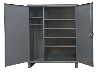 DCBDLP724RDR-95 12 Door Shelves and 4 Drawers 1 Shelf Durable Gray Textured Coat Finish Durham Heavy Duty Welded 14 Gauge Steel Cabinet with 132 Bins 24 Length x 36 Width x 72 Height