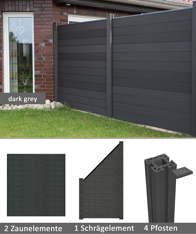 Terrasso Wpc Bpc Privacy Screen Fence With Privacy Garden Fence New Dark Grey 2 Zaune 1 Schragelement Inkl 4 Pfosten Amazon Co Uk Kitchen Home