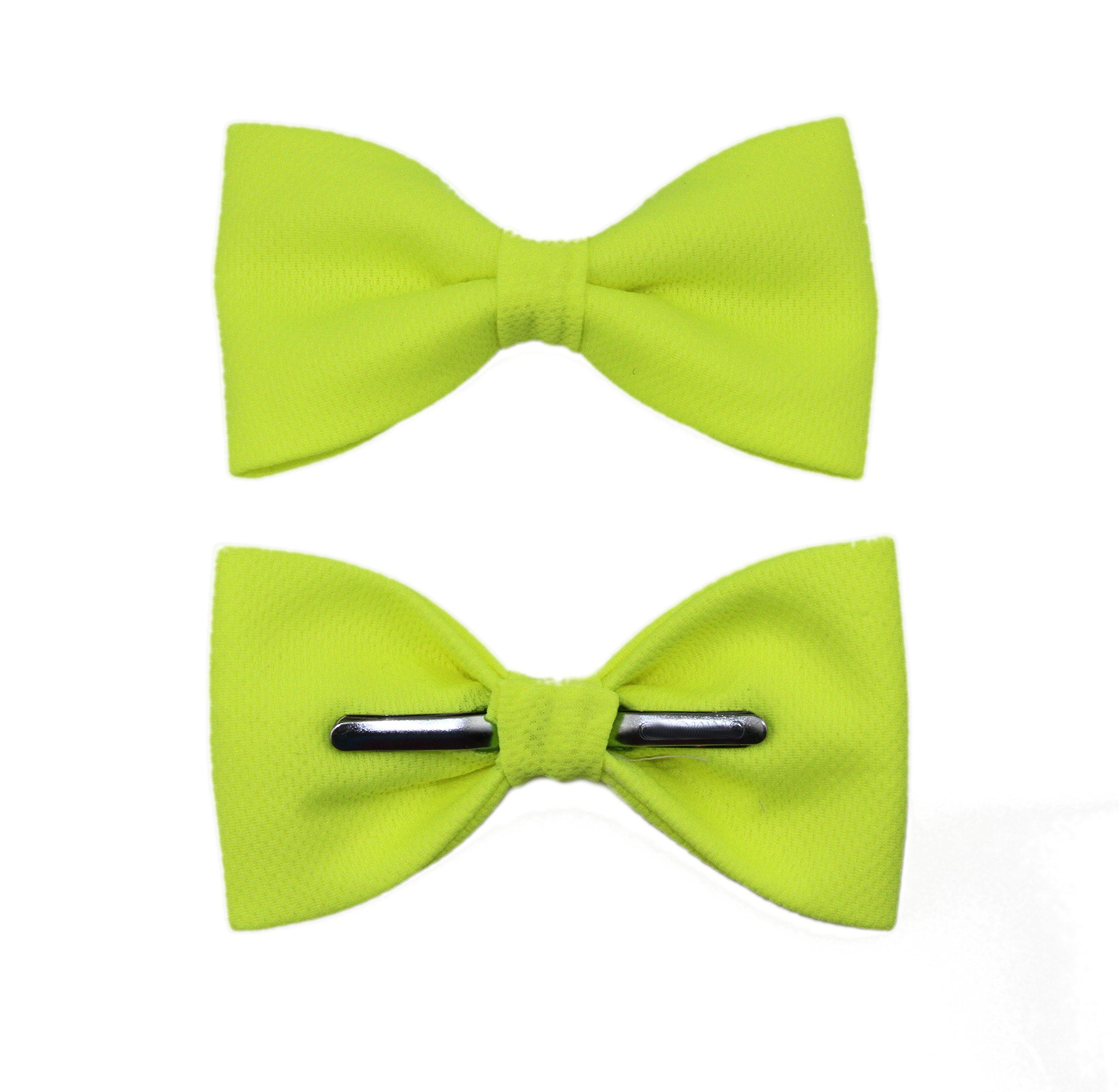 amy2004marie Men's Neon Yellow Clip On Bow Tie Bowtie by