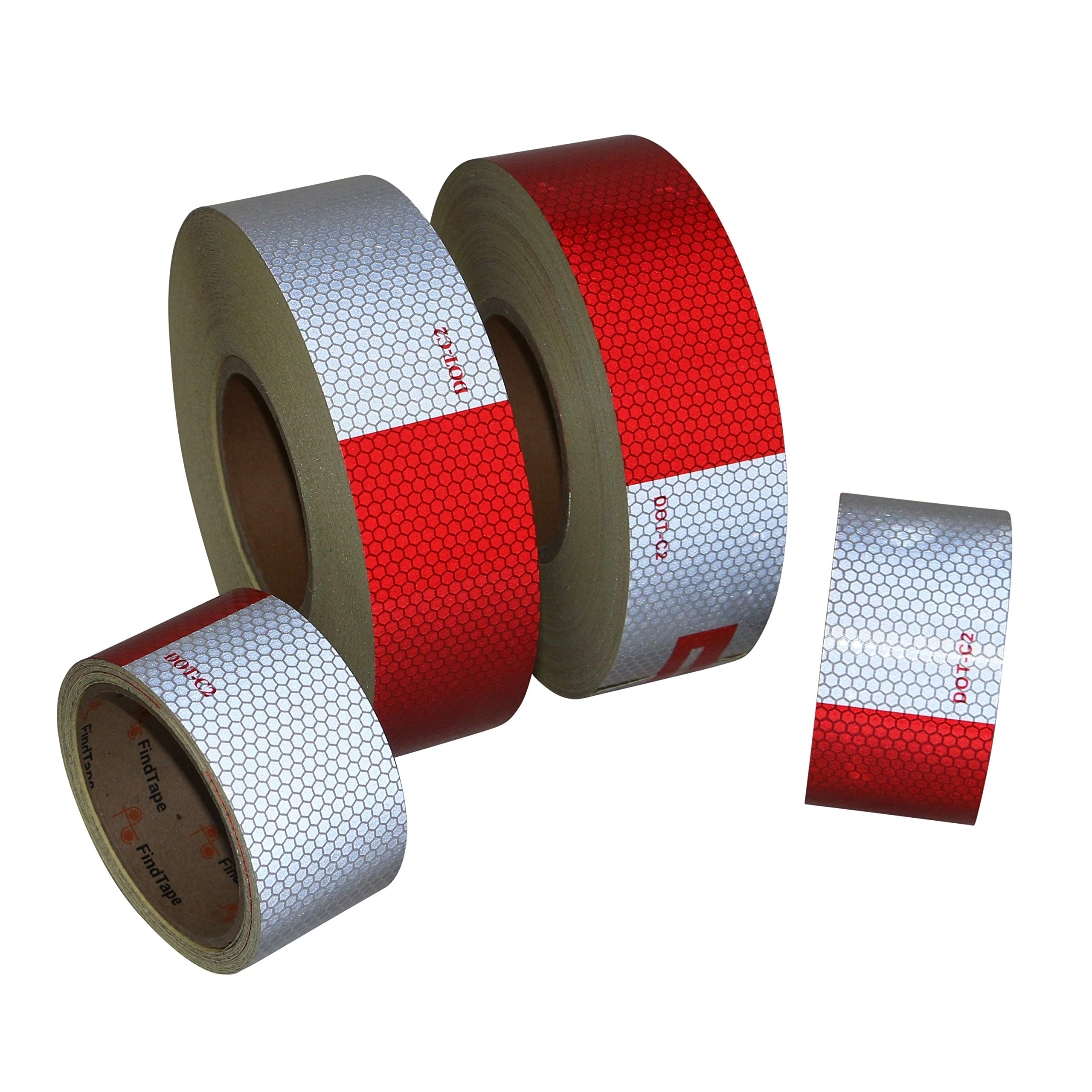 FindTape DOT-GB Glass Bead Reflective Conspicuity Tape: 2 in. x 50 yds. (Alternating 11 in. Red 7 in. White/Honeycomb Design)