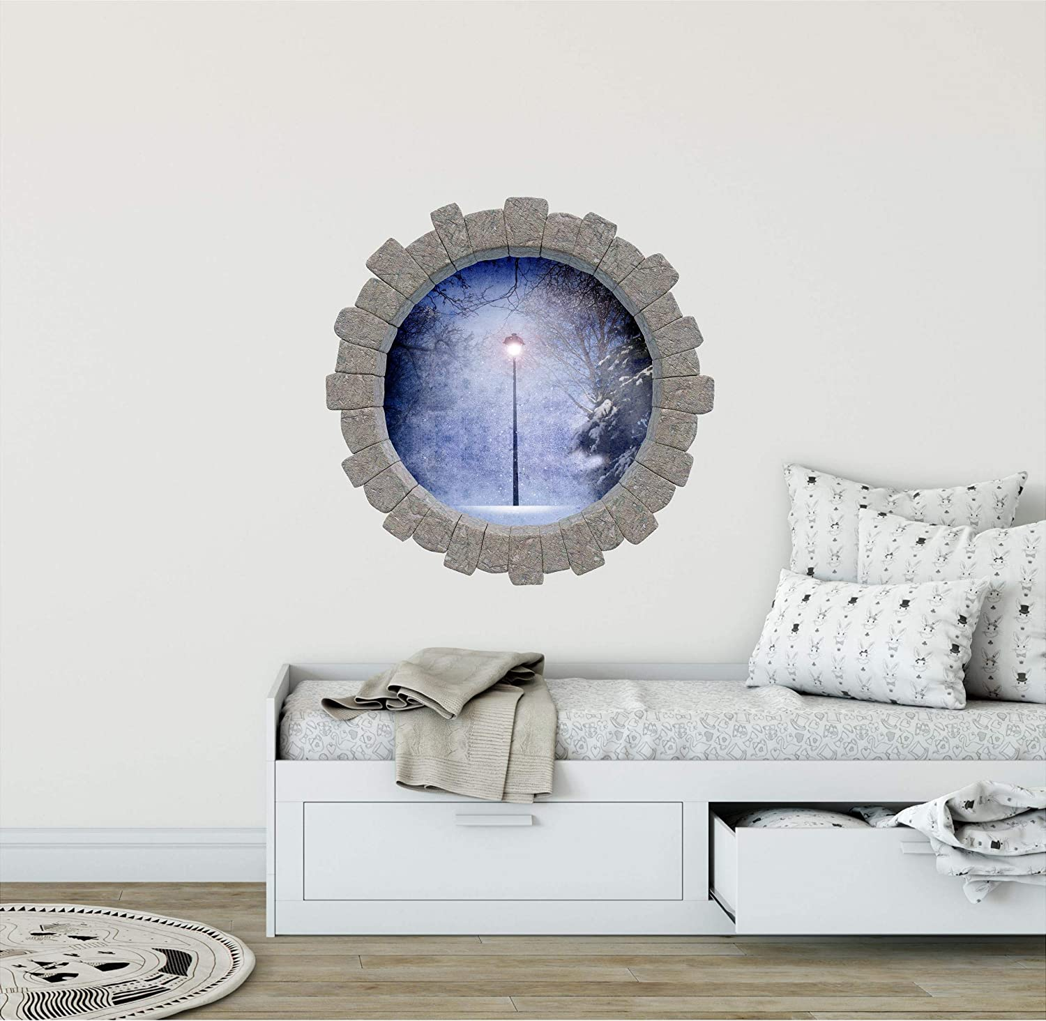 3D Stone Hole Wall Decal Narnia Lamp Post Fantasy Adventure Fairy Tale Brick 3D Window Removable Fabric Vinyl Wall Sticker
