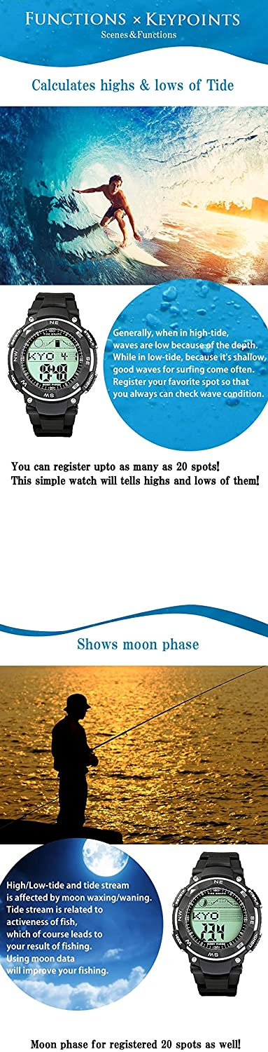 Amazon.com: [LAD WEATHER] Tide graph watch Moon phase High & Low tide Pacer Fishing/ Surfing/ Diving: Watches
