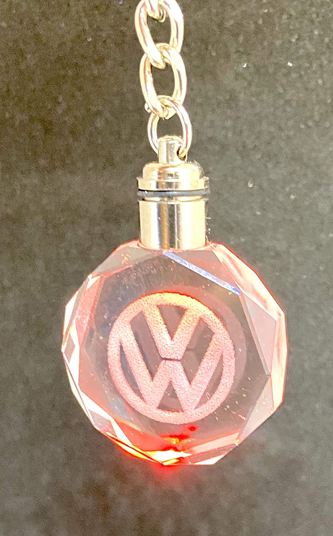 Compatible With Volkswagen LED 3D Colour Changing Chrystal Laser Engraved Keyring In Presentation Box