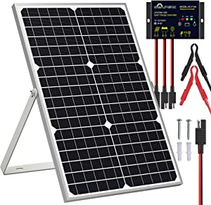 SOLPERK Solar Panel Kit 30W 12V, Solar Battery Trickle Charger Maintainer + Upgrade Waterproof Controller + Adjustable Mount Bracket for Boat Car RV Motorcycle Marine Automotive