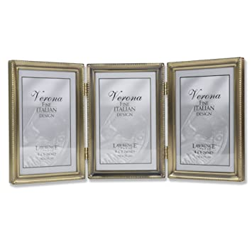 Amazoncom Lawrence Frames Antique Brass 4x6 Hinged Triple Picture