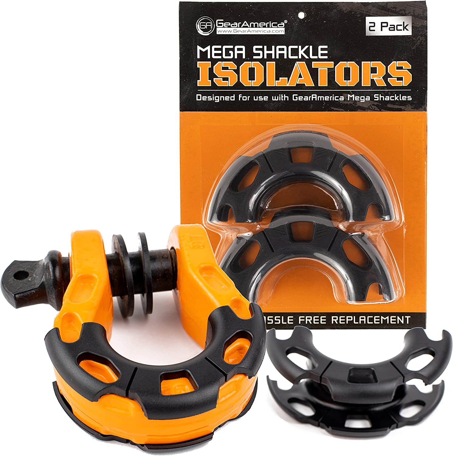 GearAmerica Mega Shackles Isolators (2PK)   Fits Exclusively GA Mega Shackles - Will Not Fit a 3/4 D Ring   Help Prevent Corrosion and Protect Finishes While Reducing Noise and Rattling