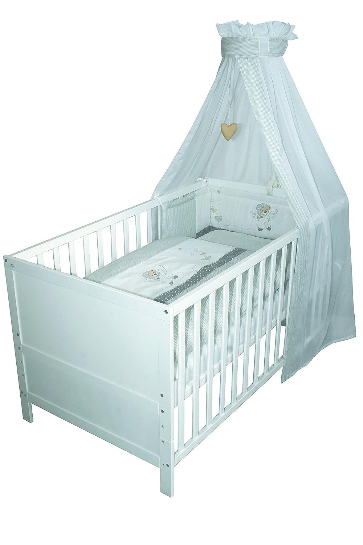3-fach h/öhenverstellbar 70x140 cm Kinderbett mit Schlupfst/äben umbaubar zum Juniorbett Baby- bzw roba Kombi Kinderbett Babybett Holz wei/ß
