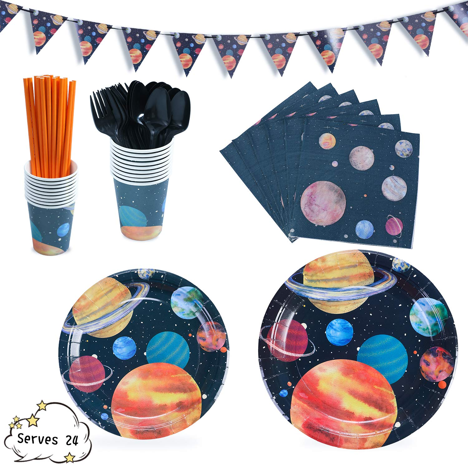 Outer Space Party Supplies Decorations Universe Planets Dinnerware Includes 7''&9'' Paper Plates Napkins Straws Knives Forks Cups Banner For Birthday, Planet Themed Parties, Serves 24 by Party Family