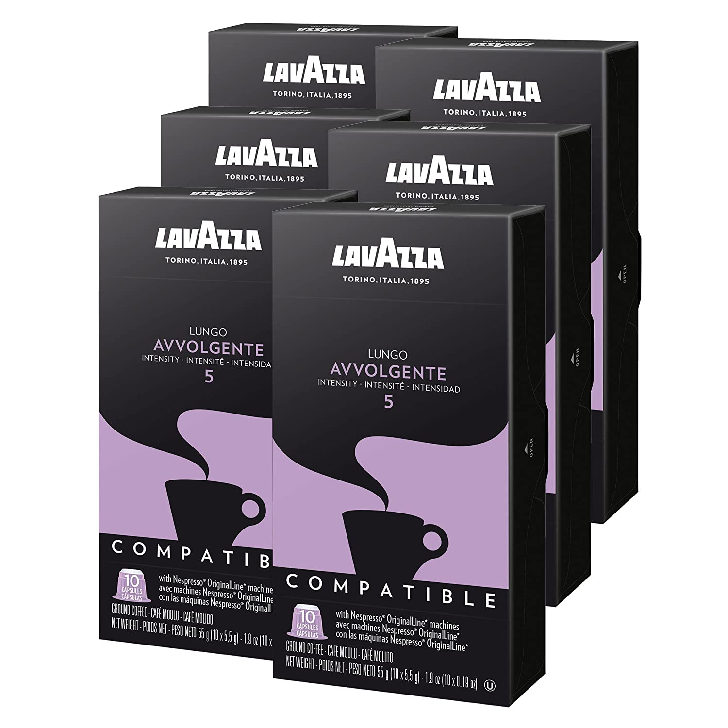 Amazon.com : Lavazza Nespresso Compatible Capsules, Avvolgente Lungo Dark Roast Coffee (Pack of 60) : Grocery & Gourmet Food
