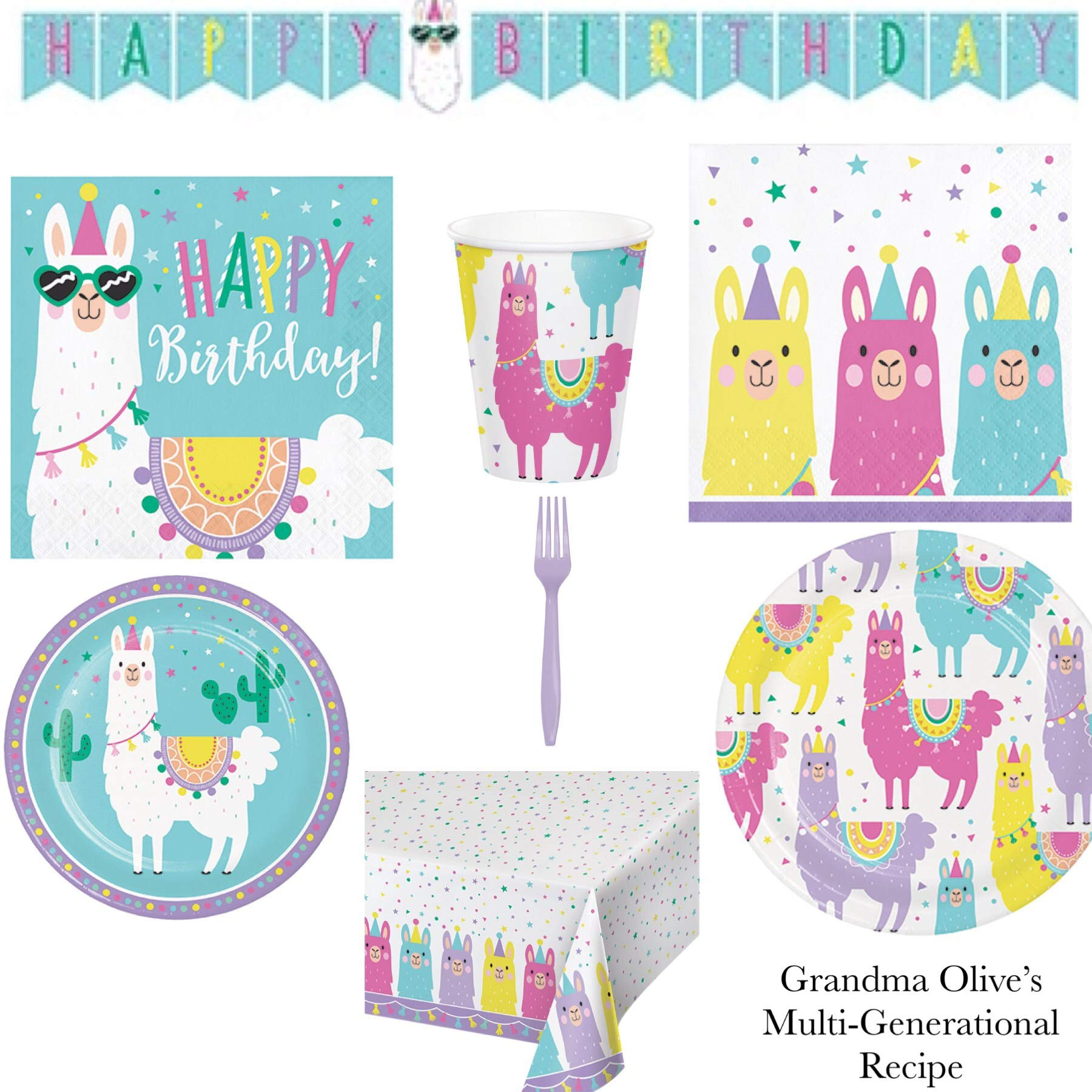 Olive Occasions Llama Themed Happy Birthday Paper Party Supplies Serves 16 Dinner Plates, 16 Cake Plates, 16 Lunch Napkins, 16 Beverage Napkins, Banner, Table Cover, Forks, Cups and Recipe