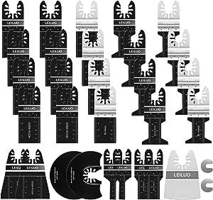 31 Pack LEILUO Oscillating Saw Blades Oscillating Tool Blades Cut Wood Metal Plastics and Dismantle Wallpaper Cement Suit for Dewalt Rockwell Royobi Millwaukee Porter Cable Bosch Rigid Craftsman