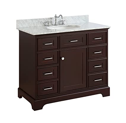 Aria 42-inch Bathroom Vanity (Carrara/Chocolate): Includes a ... on 42 inch smart tv, 42 inch tv in room, 42 inch vanity tops, 42 inch wide vanity, 42 inch furniture, 42 inch round table, 42 inch fireplaces, 42 inch doors, 42 inch kitchen cabinets, 42 inch kitchen sinks undermount, 42 inch flat screen tv, 42 inch sink cabinet, 42 inch sofas, 42 inch light fixtures, 42 inch bathroom mirror, 42 inch refrigerator, 42 inch bathroom sink, 42 inch computer desks, 42 inch bath cabinet, 42 inch base cabinets,