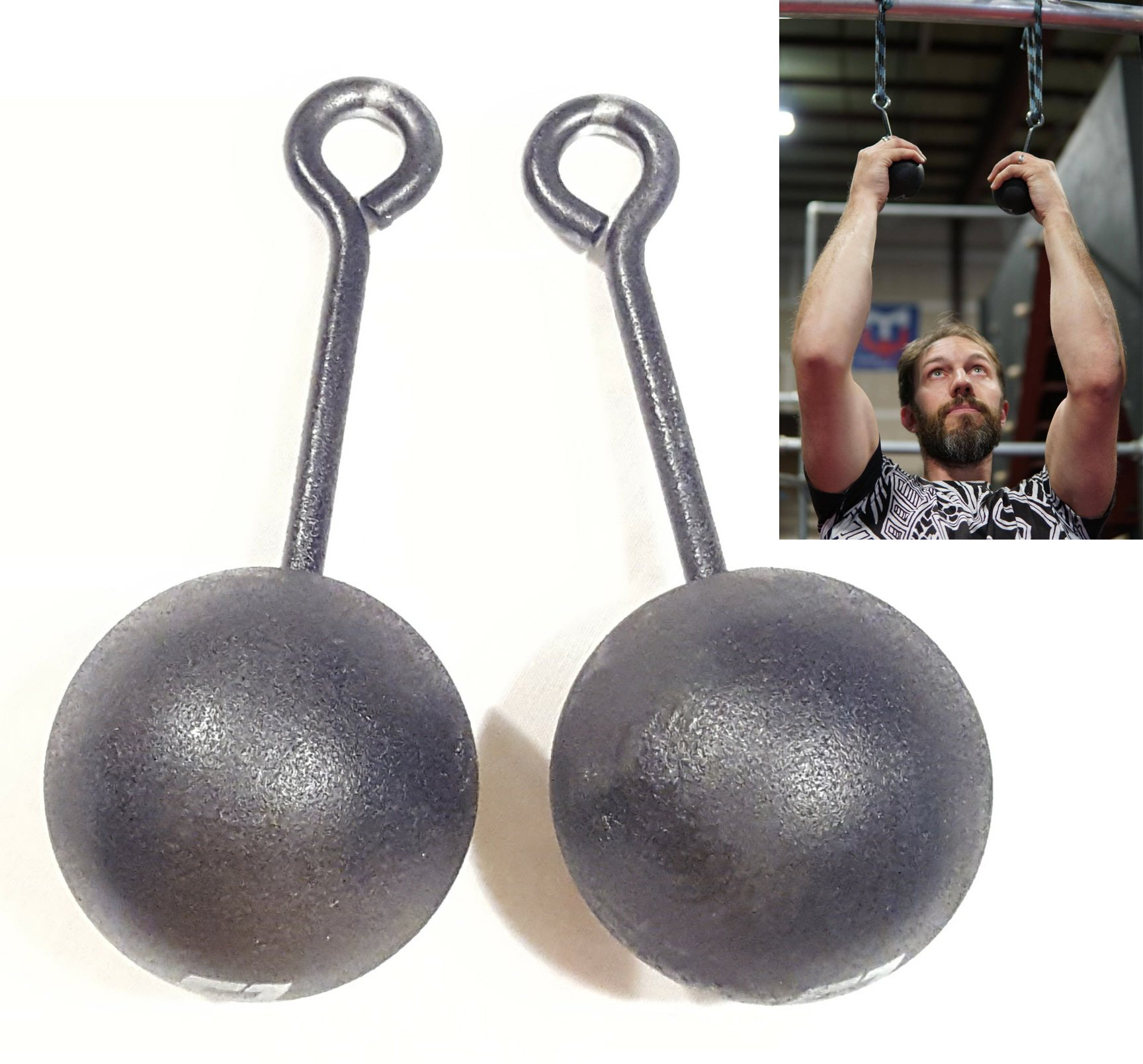 Grip Strength Training, 3-inch Hardwood Pull-Up Cannonballs - Ninja Warrior Climbing Holds & Crossfit Training, Set of 2