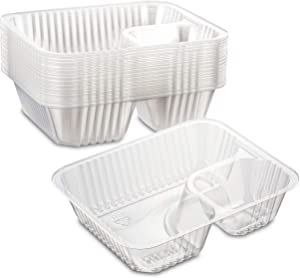 MT Products Dual Compartment Small Clear Plastic Chips or Nachos and Dip Holder- 6 x 5 Tray- Recyclable and Disposable for Easy Cleanup 12 Ounces (40 Pieces)