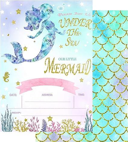 Amazon.com: 32 invitaciones de fiesta de sirena con sobres ...