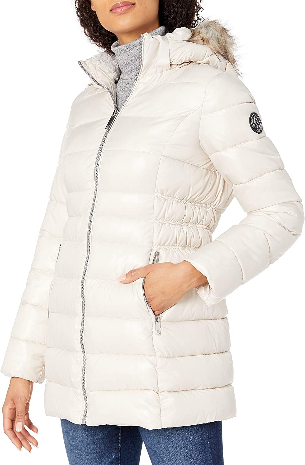 HFX womens 3/4 Puffer With Faux Fur Hood and Cinched Sides