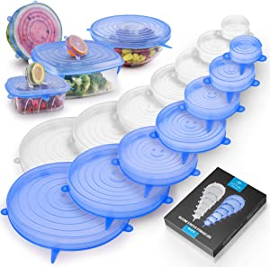 Zulay Kitchen Silicone Stretch Lids (Set of 14) - Reusable Silicone Lids Stretch & Flexible Design For Various Size Containers, Cans, Pots, Fruits & Vegetables - Silicone Bowl Covers (Blue & White)