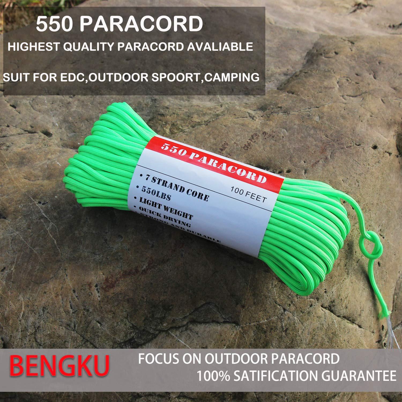 BENGKU Outdoor Survival Mil-SPEC 550lb Paracord//Parachute Cord MIl-C-5040-H ,100Feet