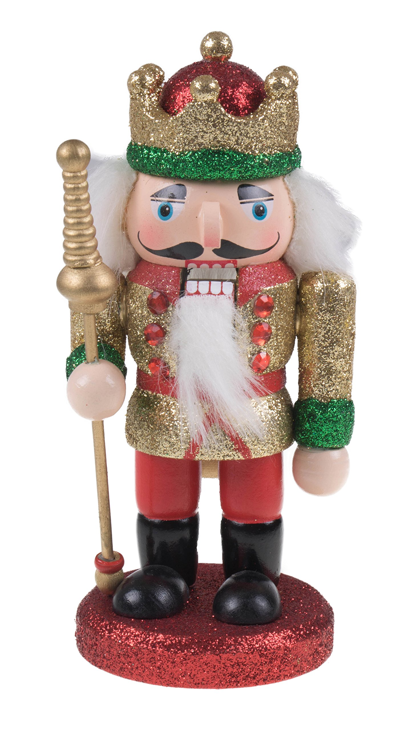 Clever Creations Traditional Wooden Gold and Red Chubby King Nutcracker Crown, Boots, Scepter   Festive Christmas Decor   6.25'' Tall Perfect for Shelves and Tables