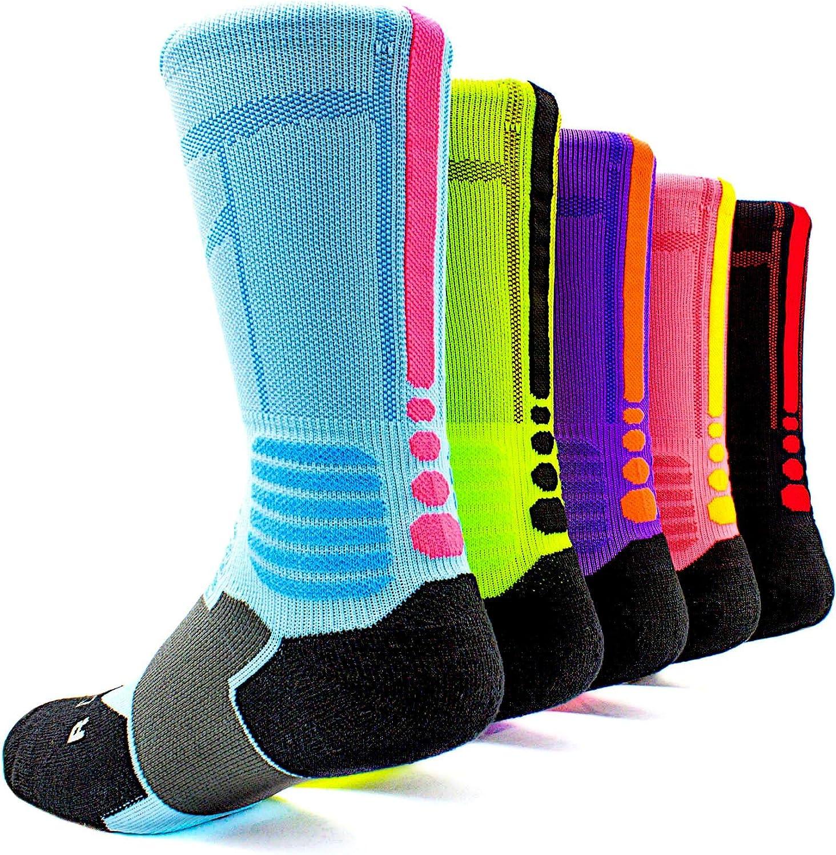 Basketball Socks 5 Pack Athletic Crew Socks Compression Sports Socks for Boy Girl Men Women,A3,Medium: Clothing