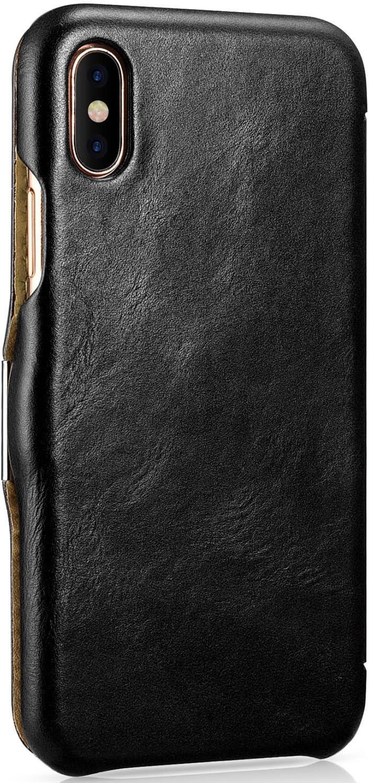 Coque avec ext/érieur en Cuir v/éritable Mobiskin Pochette pour Apple iPhone X Pochette de Protection Rabattable Housse Mince pour Portable Noir Vintage Couverture Ultra-Slim Etui