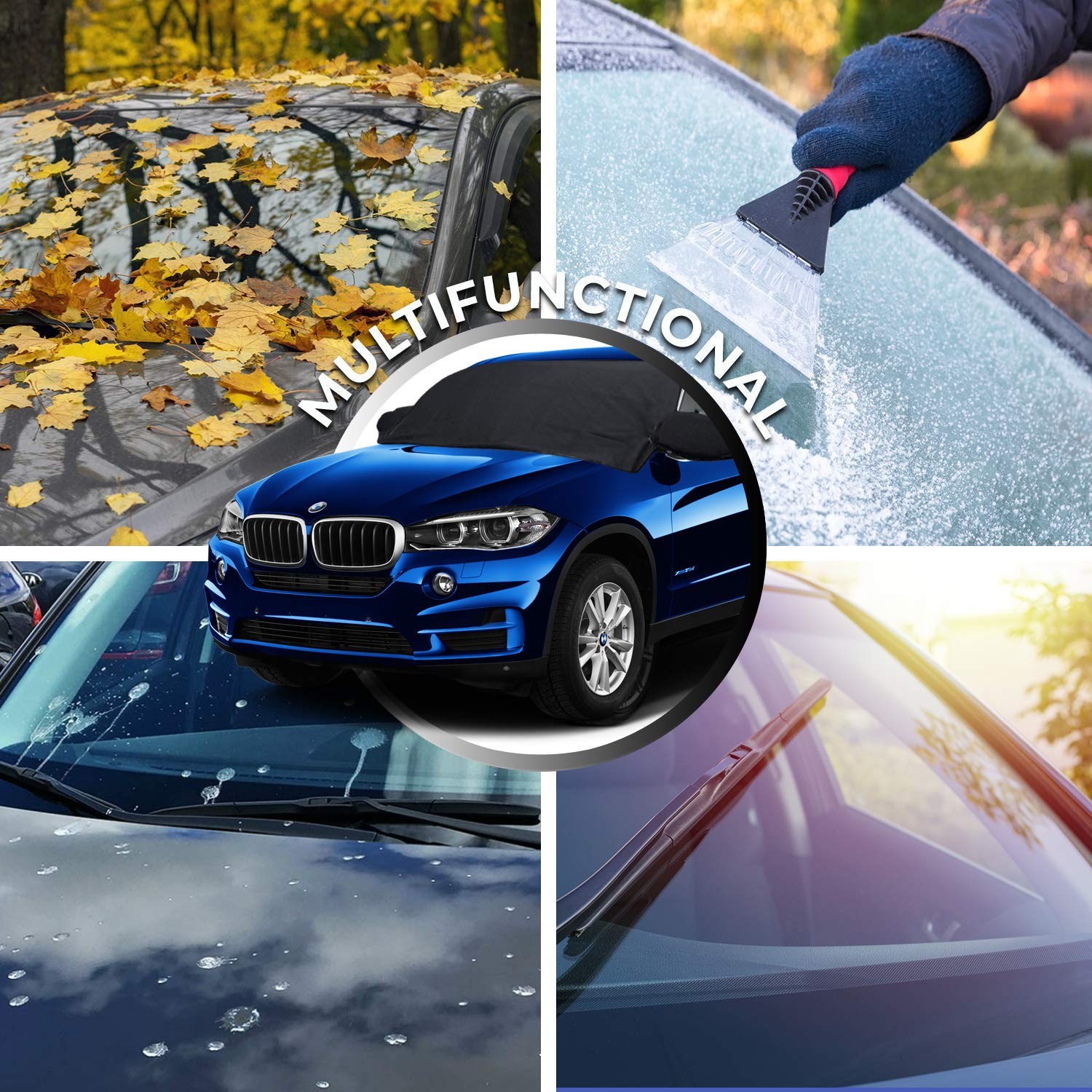 Z-H-C Car Windshield Snow Cover Truck Blocking Snow Auto Snow Windshield Cover with Rearview Mirror Protector Cover Elastic Hooks Design Fits Most Car SUV UV Sun Rays 87x50 Fallen Leaves