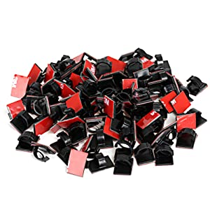 GWHOLE 100Pcs 3M Adhesive Cable Clips Cord Organizer Wire Management for Car, Office and Home