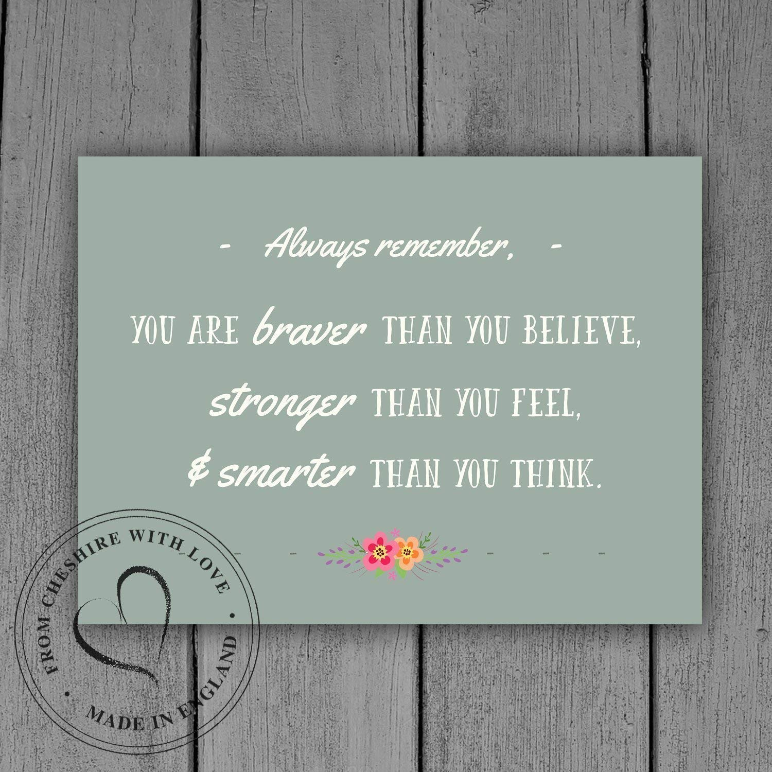 Winnie The Pooh Quote PRINT -'You Are Braver Than You Believe, Stronger Than You Feel & Smarter Than You Think.' Available in 2 Sizes. A.A. Milne Disney Quote.